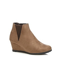 Good for the Sole - Taupe wide fit wedge shoes