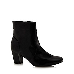 Good for the Sole - Black patent wide fit ankle boots