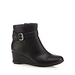 Good for the Sole - Black buckle detail wedge heel boots