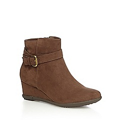 Good for the Sole - Tan high wedge wide fit boots