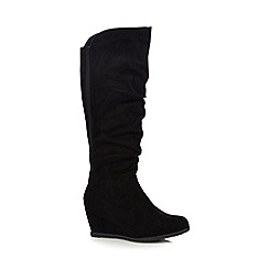 Good for the Sole - Black 'Giselle' knee high wide fit wedge boots