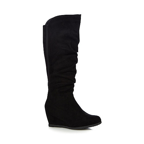 for the sole black knee high wide fit wedge
