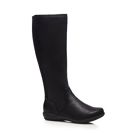 for the sole black knee high flat wide fit boots
