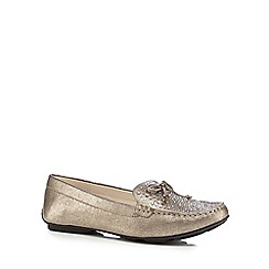 Good for the Sole - Gold metallic jewel embellished wide fit slip-on shoes