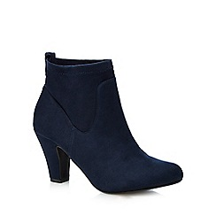 Good for the Sole - Navy 'Glenda' stretch mid heeled wide ankle boots