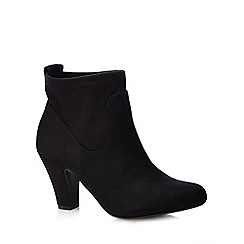 Good for the Sole - Black 'Glenda' stretch mid heeled wide ankle boots