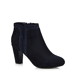 Good for the Sole - Navy sparkle wide fit ankle heel boots