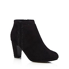 Good for the Sole - Black sparkle wide fit ankle heel boots