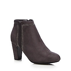 Good for the Sole - Grey diamante high heeled wide fit ankle boots