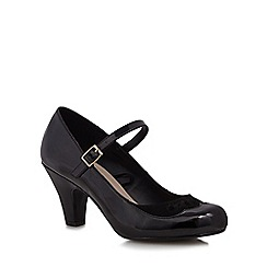 Good for the Sole - Black cut-out patent wide fit high court shoes