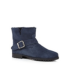 Mantaray - Navy faux fur lined ankle boots