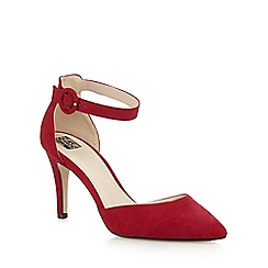 The Collection - Dark red ankle strap high court shoes