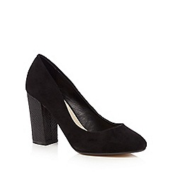 Red Herring - Black textured snakeskin-effect heel high court shoes
