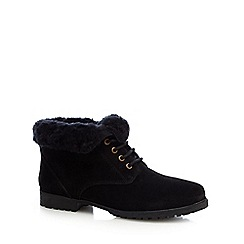 Mantaray - Black faux fur trim suede boots