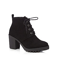 Red Herring - Black lace-up block heel ankle boots