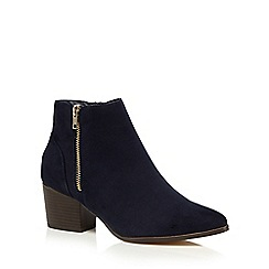 Red Herring - Navy suedette mid block heel ankle boots