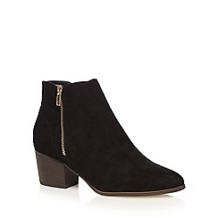 Red Herring - Black suedette mid block heel ankle boots