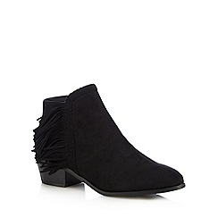 Red Herring - Black fringed ankle boots