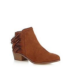 Red Herring - Tan fringed ankle boots