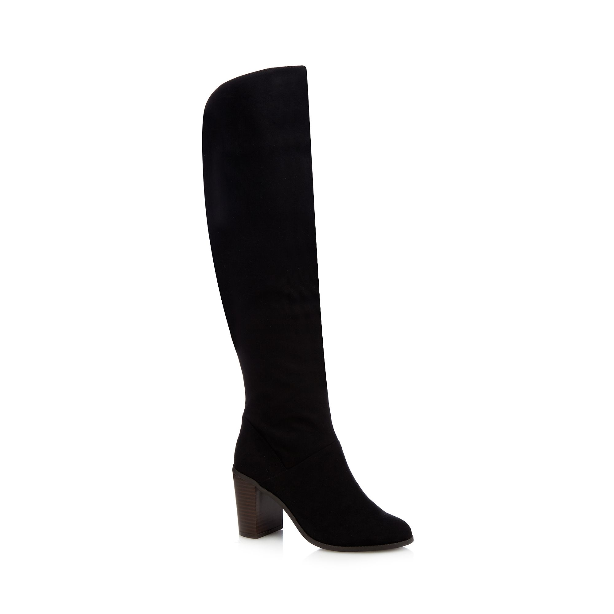 herring womens black knee high heeled boots from