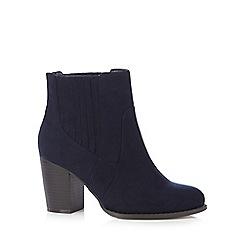 Red Herring - Navy wide fit boot heels