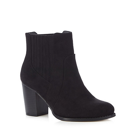 Red Herring - Black suedette high heel wide fit ankle boots