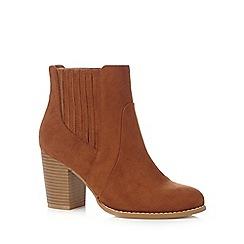 Red Herring - Tan wide fit boot heels