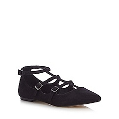Red Herring - Black caged strap shoes