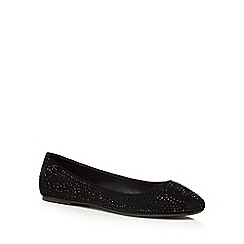 Red Herring - Black studded flat ballet pumps