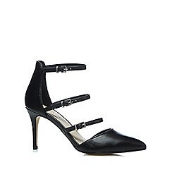 Red Herring - Black three buckle high court shoes