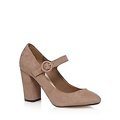 Red Herring - Taupe suedette high block heel Mary Janes