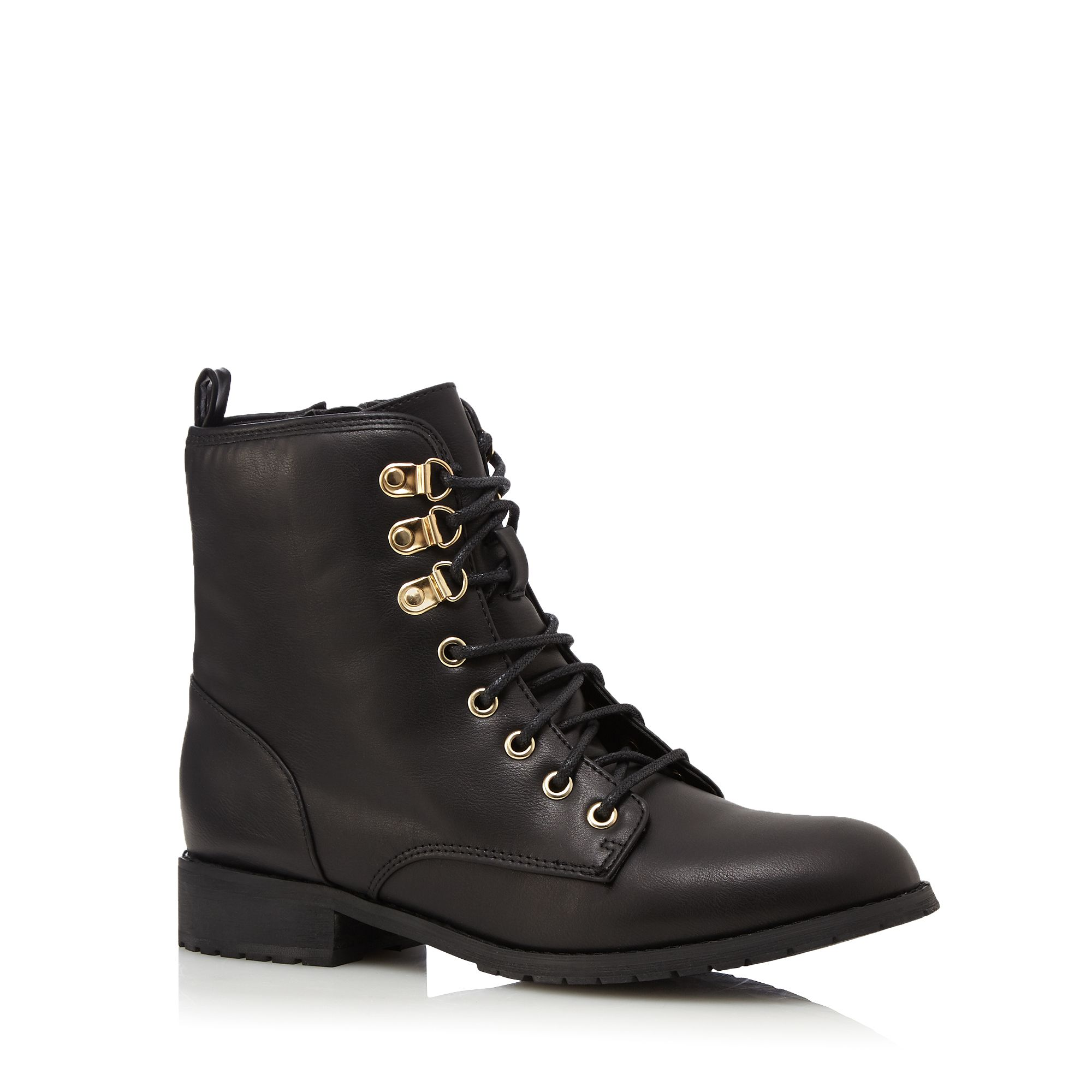 Red Herring Womens Black Lace Up Ankle Boots From ...