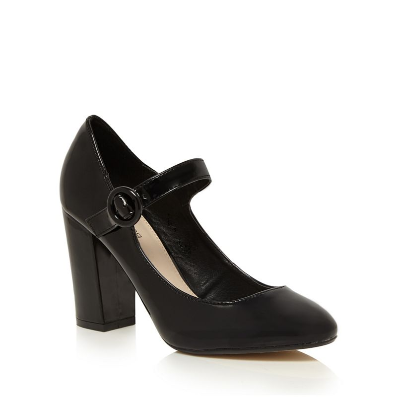 Womens Red Herring Black Patent High Court Shoes, Womens,