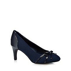 The Collection - Navy 'Carina-c' suede and patent bow court shoes