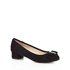 The Collection - Black bow mid block heel court shoes