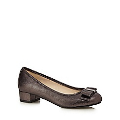 The Collection - Dark grey metallic bow applique low court shoes