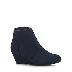 The Collection - Navy textured wedge heel ankle boots