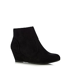The Collection - Black textured wedge heel ankle boots