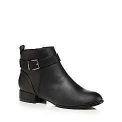 The Collection - Black buckle strap low ankle boots