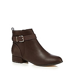 The Collection - Brown leather strap ankle boots
