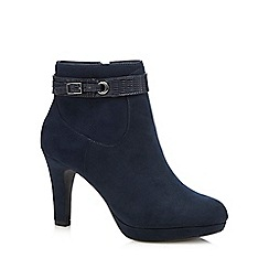 The Collection - Navy buckle high ankle boots