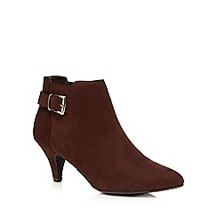 The Collection - Dark brown buckled low ankle boots