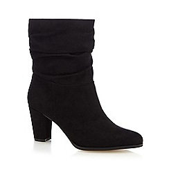 The Collection - Black ruched trim mid calf boots