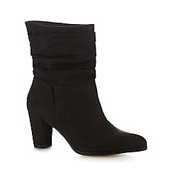 The Collection - Dark grey ruched trim mid calf boots
