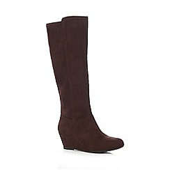 The Collection - Dark brown knee high wedge boots