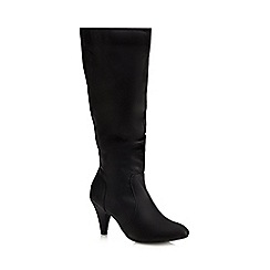 The Collection - Black 'Camilla' ruched front mid heeled boots