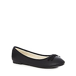 The Collection - Black chicory fur bow pumps