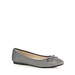 The Collection - Silver glitter bow slip-on shoes