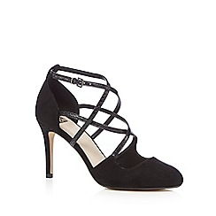 The Collection - Black strappy court shoes