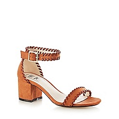Nine by Savannah Miller - Tan 'Sara' stitched high sandals